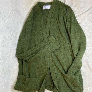 Girls cardigan drape style sweater olive green